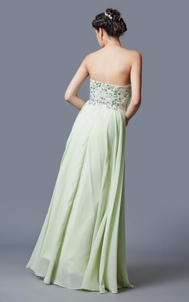 Captivating Strapless Embroidered Jeweled Bodice Chiffon Skirt