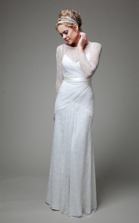 Bateau Illusion Sleeve Sheath Lace Wedding Dress With Sash And Low V Back  ... Pictures
