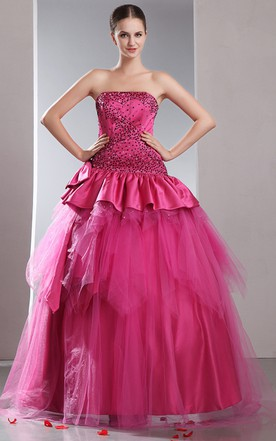 A-Line Strapless Princess Ball Gown With Peplum And Sequins