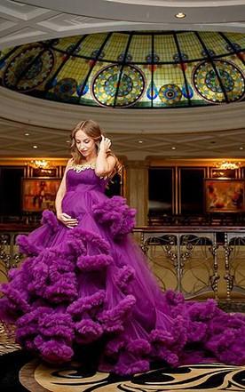 Purple lavender wedding dress june bridals glamorous pregnant purple cloud wedding dress 2018 appliques womens party dress junglespirit Images