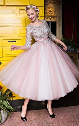 Vintage Tea Prom Gowns Mid Length Formal Dresses June Bridals