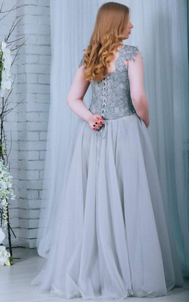 Chiffon&Tulle&Lace Dress With Lace-up Back