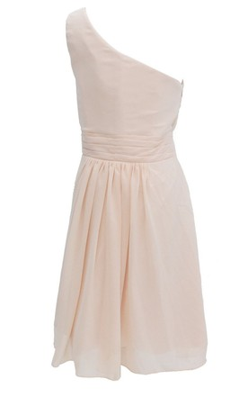 One-shoulder Ruched Knee-length Pleated Chiffon Dress