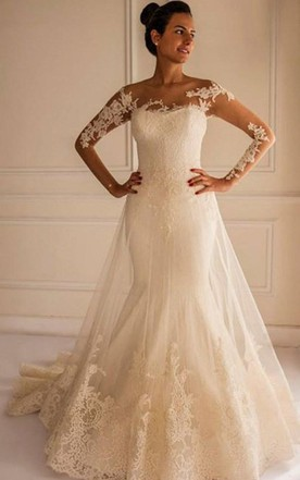 Chic Lace Liques Mermaid Tulle Wedding Dress 2018 Court Train