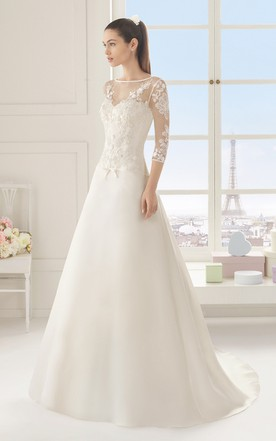 Simple Style Wedding Dresses With Sleeve Plain Sleeves Bridals