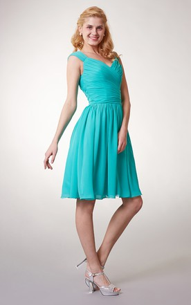 Cap Sleeve Chiffon Short Bridesmaid Dress with Ruching