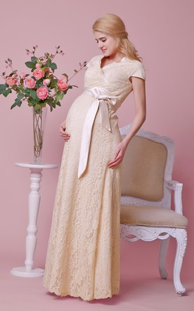 Cap-sleeved Sheath Lace Maternity Wedding Dress With Criss-crossed V Neck