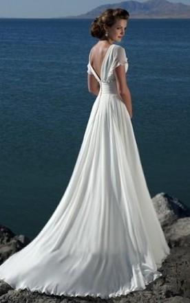 f9024ca0e42 ... Empire V-neck Court Trains Chiffon Beach Wedding Dresses for Brides