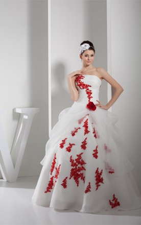 Two Tone Strapless Ruched Tulle Ball Gown With Flower And Liques