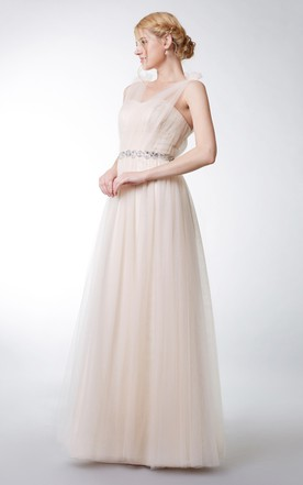 Floral Strap V-neck Tulle Gown With Ruching