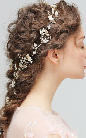 Forest Style White Pearl Branches Vines Gold Leaf Rhinestones Hairpin