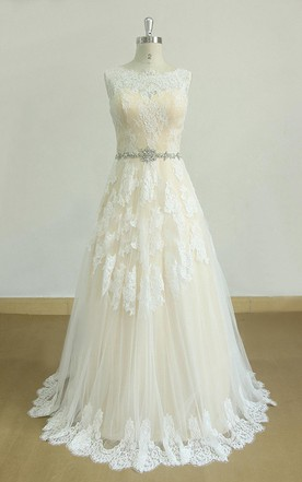 Beautiful A Line Tulle Lace Satin Dress With Beading Sash Ribbon ...