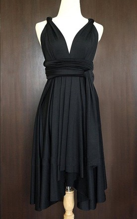 Black Bridesmaid Convertible Twist Wrap Dress