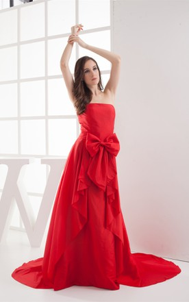 Strapless A-Line Chiffon Maxi Dress with Draping and Bow