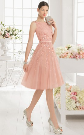 d8a7437a55f Knee-Length A-Line Bateau Neck Sleeveless Sequined Tulle Prom Dress