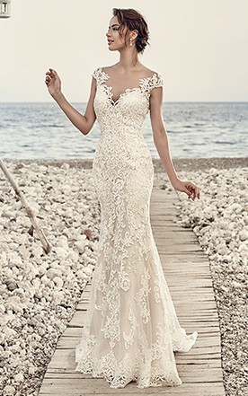 Sheath Cap Sleeve V Neck Floor Length Lace Wedding Dress With Appliques And