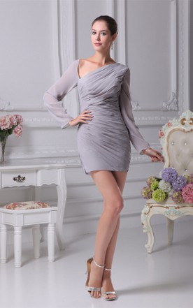 Asymmetrical Long-Sleeve Fitted Dress with Ruched Bodice