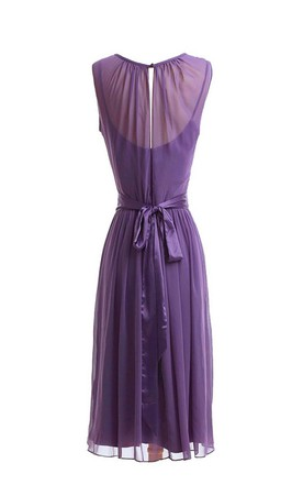Sleeveless Knee-length Pleated Layered Chiffon Dress