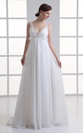 Cheap large size bridal dresses 100 plus figure wedding dress chiffon empire maxi strapped dress with pleats and beading junglespirit Images