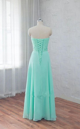 Sweetheart Long Ruched Chiffon Dress With Sequins