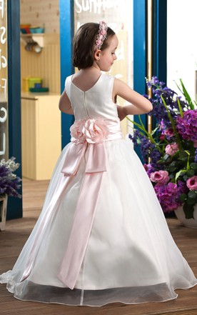 Adorable Sleeveless Satin A-Line Flower Girl Dress With Ribbon
