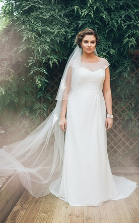 Plus size bridal gowns with shortlong sleeves full figured sheath long bateau neck short sleeve chiffon court train dress junglespirit Image collections