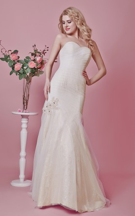 Strapless Backless Tulle Mermaid Dress With Appliques