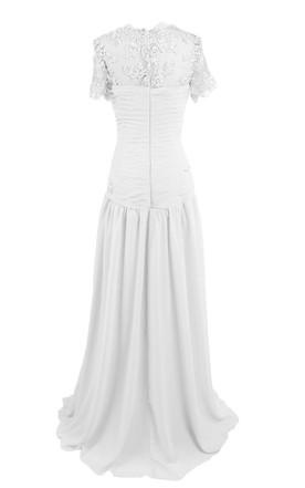 Short Sleeve High Neck Long Pleated Chiffon Dress