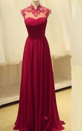 Gorgeous High-Neck Burgundy Long 2016 Prom Dresses Chiffon Beadings Appliques