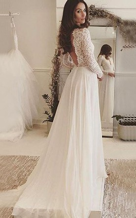 Long sleeved wedding gowns bridals dress with sleeves june bridals v neck long sleeves backless ivory chiffon wedding dress with lace junglespirit Images