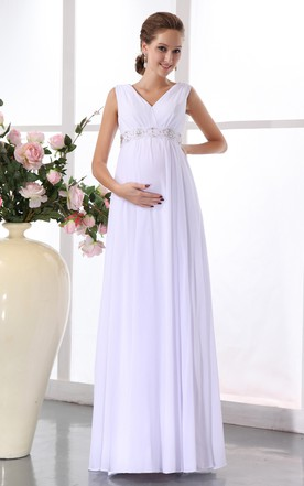 Empire Chiffon Maternity V Neck Gown Withwaistbanded Waist
