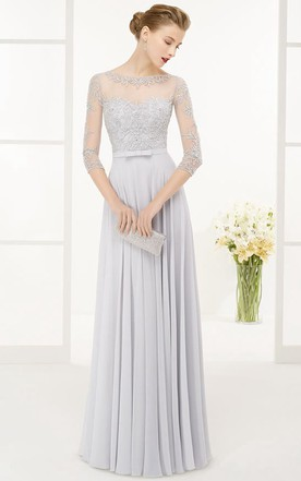 331371a1109 A-Line Beaded 3-4-Sleeve Floor-Length Jewel-Neck Chiffon ...