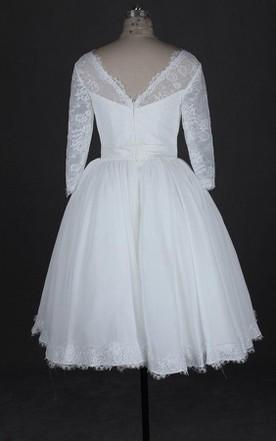 Plus Figure Tea Wedding Dress, Large Size Mid Length Bridals Dresses ...