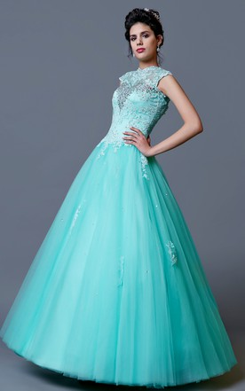 High Neck Cap Sleeve Quinceanera Gown with Appliques and Beading