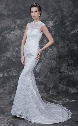Classic Cap-sleeved High-neck Lace and Charmeuse Gown