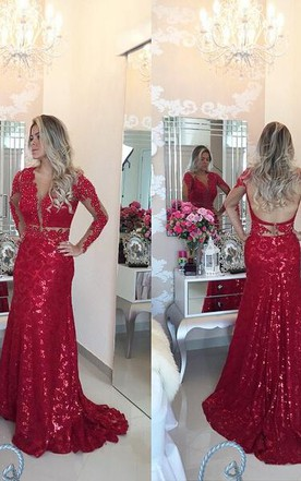 Glamorous Red Mermaid Sequins Prom Dress 2016 Lace Appliques Backless