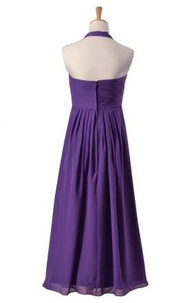 Sleeveless Long Layered Chiffon Dress With Drapped Applique