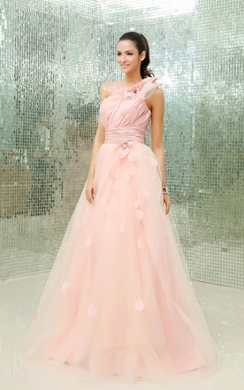 Asymmetrical One-Shoulder Floral A-Line Ball Gown With Soft Tulle