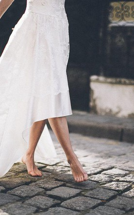 Boho Inspired High-Low Wedding Dress in Satin and Lace