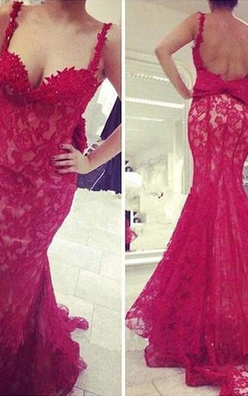 Gorgeous Red Lace Mermaid 2016 Evening Dress Bowknot Straps
