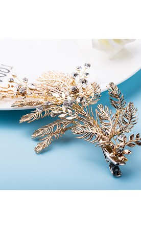 Western Style Bride Headdress Crystal Metal Feather Manual Hairpin