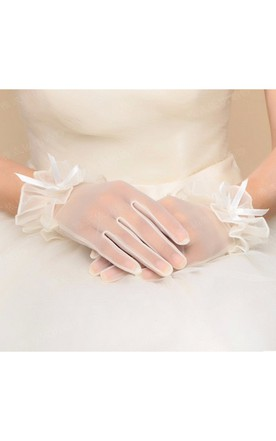 New Korean Spring And Summer Short Lace Bow Tulle Gloves