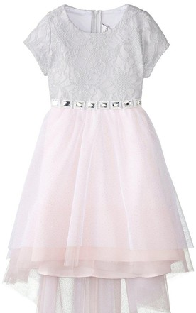 Short-sleeved Scoop-neck A-line Dress With Bow