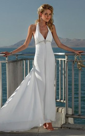 Sheath Column V Neck Halter Beading Chiffon Wedding Dress