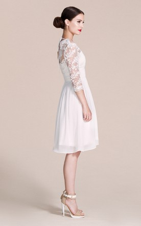 Long Sleeved V-neck A-line Short Wedding Dress