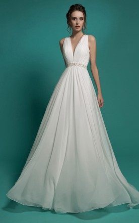 0e581527a1a0 A-Line Floor-Length V-Neck Sleeveless Empire Illusion Chiffon Dress With  Beading ...