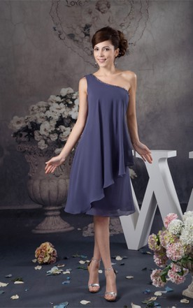 One-Shoulder Chiffon Knee-Length Dress with Beading and Draping