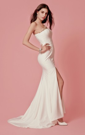 One-shoulder Crystal-beaded Jersey Sheath Gown With High-slit