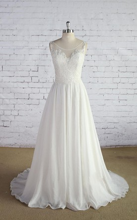 Scoop Neck Sleeveless Long A Line Chiffon Wedding Dress With Lace Bodice