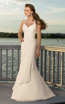 Sheath Column V Neck Halter Chiffon Wedding Dress
